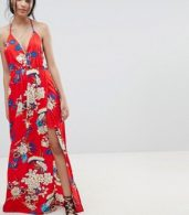 photo Floral Print Cami Maxi Dress by Parisian, color Red - Image 1