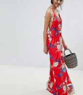 photo Floral Print Cami Maxi Dress by Parisian, color Red - Image 4