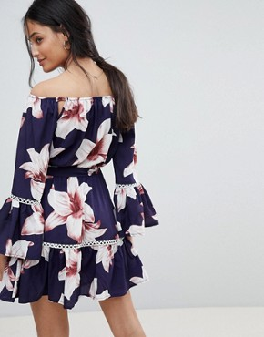 photo Off Shoulder Floral Dress by Parisian, color Navy - Image 2
