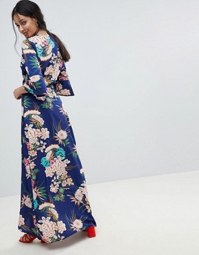 photo Floral Maxi Dress with Wrap Front by Parisian, color Blue - Image 2