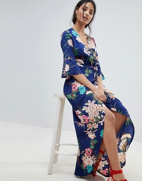 photo Floral Maxi Dress with Wrap Front by Parisian, color Blue - Image 1