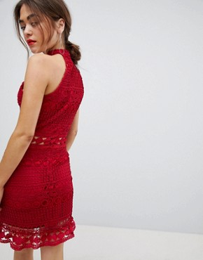 photo High Neck Lace Dress by Parisian, color Red - Image 2