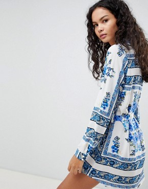 photo Printed Shirt Dress by Parisian, color White/Blue - Image 2