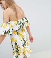 photo Lemon Print Off Shoulder Ruffle Dress by Parisian, color White/Yellow - Image 2