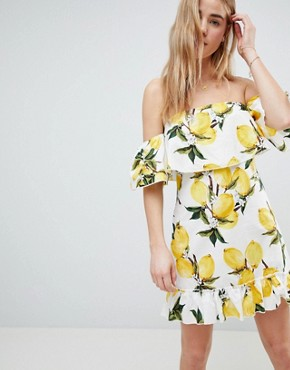 photo Lemon Print Off Shoulder Ruffle Dress by Parisian, color White/Yellow - Image 3