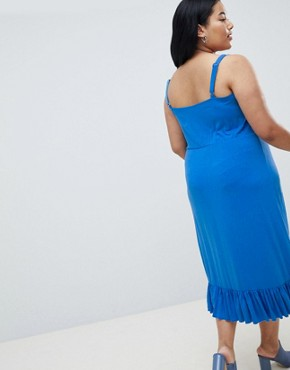 photo Ruffle Midi Cami Dress by Junarose, color Blue - Image 2