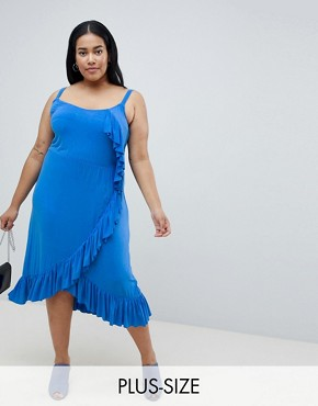 photo Ruffle Midi Cami Dress by Junarose, color Blue - Image 1