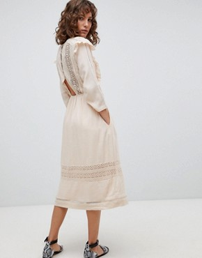 photo Midi Folk Dress with Ruffle Front by Suncoo, color Nude - Image 2