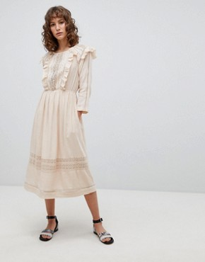 photo Midi Folk Dress with Ruffle Front by Suncoo, color Nude - Image 1