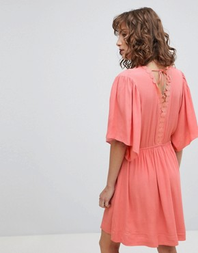 photo Skater Dress with Flutter Sleeve by Suncoo, color Coral - Image 2