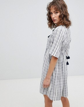 photo Striped Smock Dress by Suncoo, color Blue - Image 2