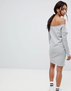 photo Maternity Raw Edge Off Shoulder Sweat Dress by ASOS DESIGN, color Grey - Image 2