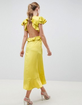 photo Ruffle Midi Dress in Rippled Satin with Cut Out Back by ASOS DESIGN, color Chartreuse - Image 2