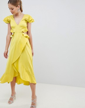 photo Ruffle Midi Dress in Rippled Satin with Cut Out Back by ASOS DESIGN, color Chartreuse - Image 1
