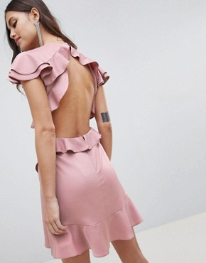 photo Ruffle Mini Dress in Rippled Satin with Cut Out Back by ASOS DESIGN, color Blush - Image 2