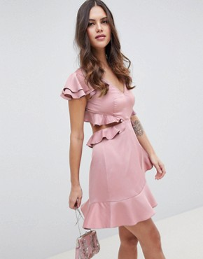 photo Ruffle Mini Dress in Rippled Satin with Cut Out Back by ASOS DESIGN, color Blush - Image 1