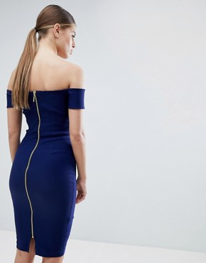 photo Plunge Front Midi Pencil Dress by Vesper, color Dark Navy - Image 2
