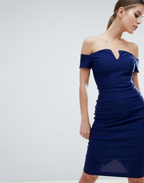 photo Plunge Front Midi Pencil Dress by Vesper, color Dark Navy - Image 1