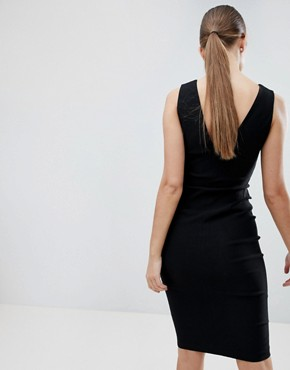 photo Zip Through Midi Pencil Dress with Ring Detail by Vesper, color Black - Image 2