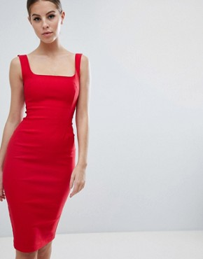 photo Square Neck Pencil Dress in Red by Vesper, color Red - Image 1