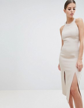 photo Double Thigh Split Midi Dress by Vesper, color Champagne - Image 1