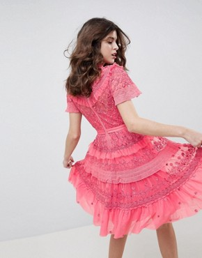 photo High Neck Layered Mini Dress with Ruffle Sleeves in Hot Pink by Needle & Thread, color Hot Pink - Image 2