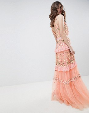 photo Layered Maxi Dress with Embroidery Detail by Needle & Thread, color Coral - Image 2