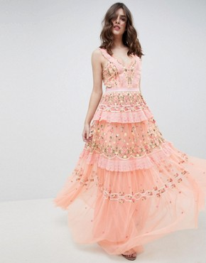 photo Layered Maxi Dress with Embroidery Detail by Needle & Thread, color Coral - Image 1