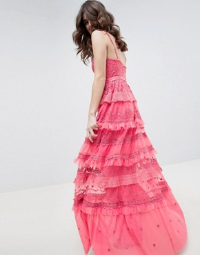 photo Iris Layered Embroidered Cami Maxi Dress in Hot Pink by Needle & Thread, color Hot Pink - Image 2