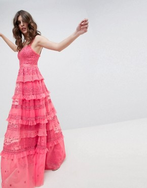 photo Iris Layered Embroidered Cami Maxi Dress in Hot Pink by Needle & Thread, color Hot Pink - Image 1
