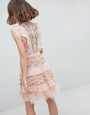 photo High Neck Layered Mini Dress with Embroidery by Needle & Thread, color Petal Pink - Image 2