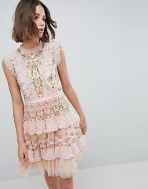 photo High Neck Layered Mini Dress with Embroidery by Needle & Thread, color Petal Pink - Image 1