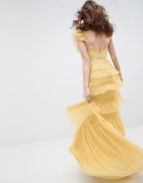 photo Layered Maxi Dress with Ruffle Neck Detail in Sunflower by Needle & Thread, color Sunflower - Image 2
