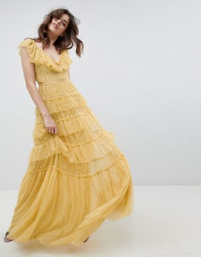 photo Layered Maxi Dress with Ruffle Neck Detail in Sunflower by Needle & Thread, color Sunflower - Image 1