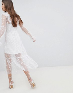 photo Midi Tulle Dress by For Love and Lemons, color White - Image 2