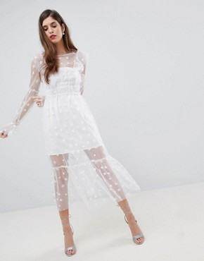 photo Midi Tulle Dress by For Love and Lemons, color White - Image 1