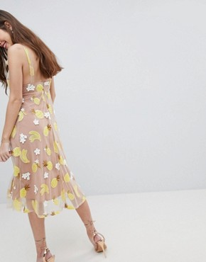 photo Fruit Punch Sequin Midi Dress by For Love and Lemons, color Pineapple - Image 2