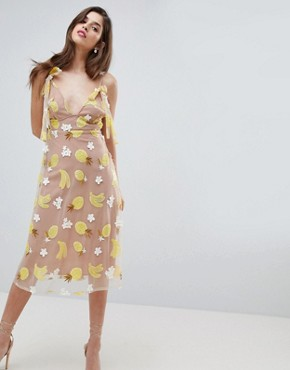 photo Fruit Punch Sequin Midi Dress by For Love and Lemons, color Pineapple - Image 1