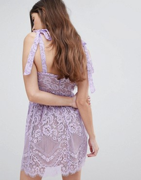 photo Valentina Mini Dress by For Love and Lemons, color Lavender - Image 2