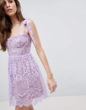 photo Valentina Mini Dress by For Love and Lemons, color Lavender - Image 1
