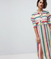 photo Stripe Midi Dress with Side Splits by Vero Moda, color Rainbow Bright - Image 1