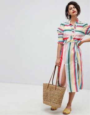 photo Stripe Midi Dress with Side Splits by Vero Moda, color Rainbow Bright - Image 4