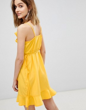 photo Wrap Ruffle Mini Dress by Vero Moda, color Yellow - Image 2