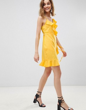 photo Wrap Ruffle Mini Dress by Vero Moda, color Yellow - Image 1