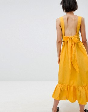 photo Ruffle Hem Cami Dress with Bow Back by Vero Moda, color Yellow - Image 2