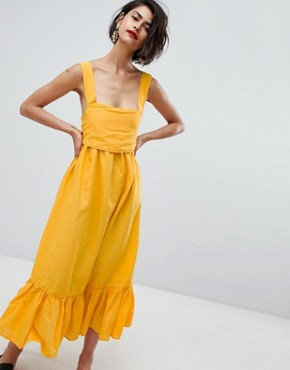 photo Ruffle Hem Cami Dress with Bow Back by Vero Moda, color Yellow - Image 1