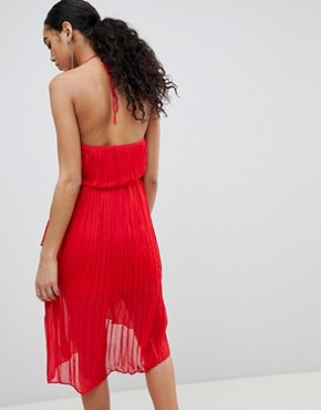 photo Pleated Halterneck Midi Dress by Missguided, color Red - Image 2