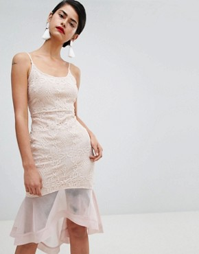 photo Strappy Lace Mesh Fishtail Midi Dress by Missguided, color Nude - Image 1