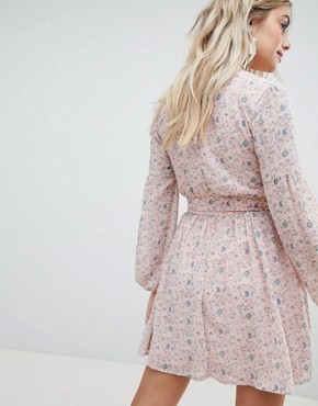 photo Floral Chiffon Dress by Missguided, color Pink Floral - Image 2