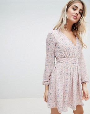 photo Floral Chiffon Dress by Missguided, color Pink Floral - Image 1